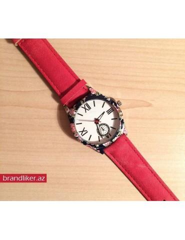 Geneva qırmızı canvas saat