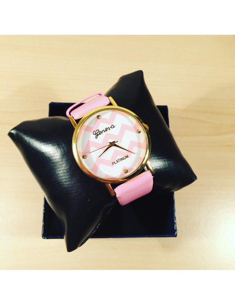 Çəhrayı rəngli Geneva dalğavari qadın saatı