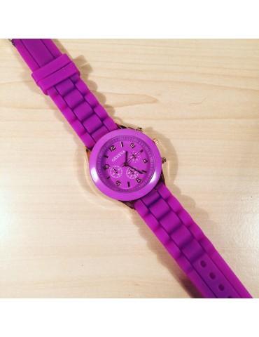 Geneva slikon kəmərli bənövşəyi qadın saatı